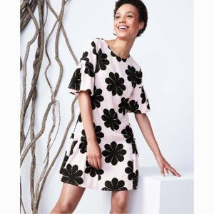 AT Flower Power Shift Dress Pink Black 4 NWT